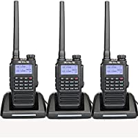 Retevis RT87 Walkie Talkies 128 channels Encryption IP67 Waterproof 2 Way Radios for Hunting and Other Outdoor Activities (Black,3 pack) with FM Function