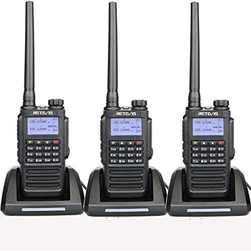 Retevis RT87 2 Way Radios Waterproof IP67 UHF/VHF 128 Channels Hands Free Emergency Scrambler Walkie Talkies (Black,3 Pack) with Encryption and FM Function