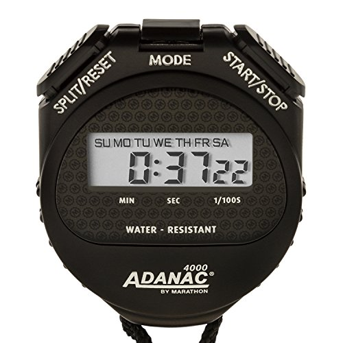 MARATHON ST083009 Adanac 4000 Digital Stopwatch Timer with Extra Large Display and Buttons, Water Resistant, One Year Warranty - Black