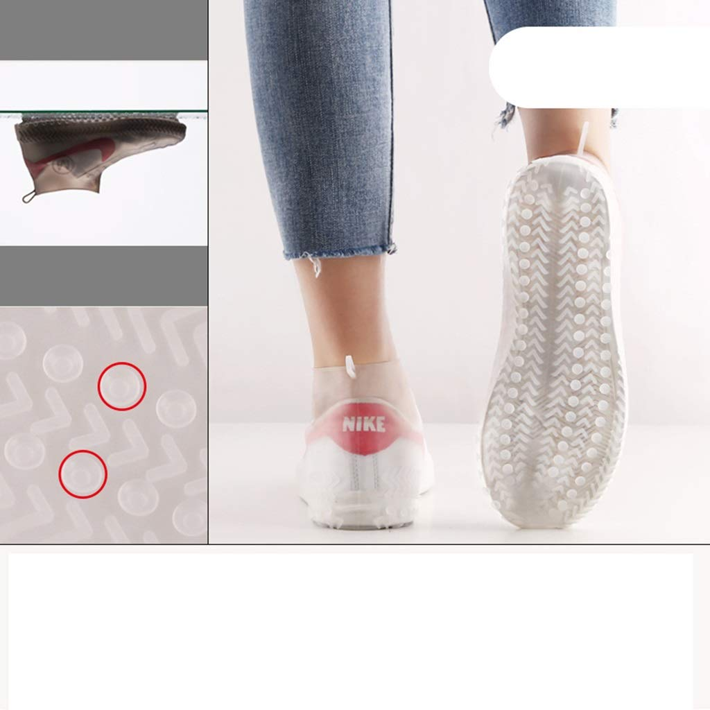 YANGBM Silicone Rain Boots Set Suction Cup Non-Slip Thickening Outdoor Travel Rain Boots Set Wear-Resistant Waterproof Shoe Cover Silicone rain Boots (Color : White, Size : L)