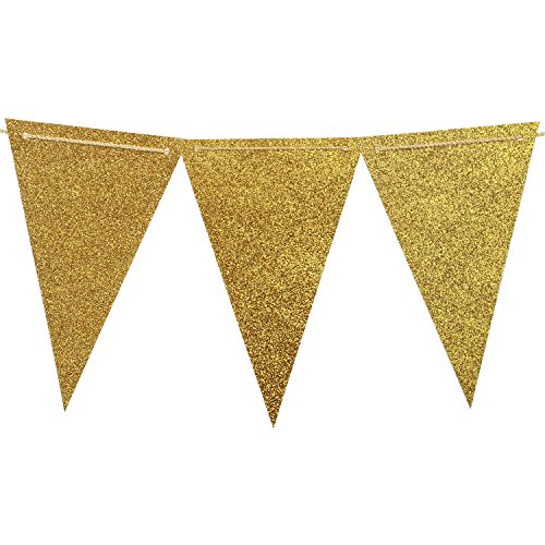 Hanging Sparkle Room Decor (Ling's moment 10 Feet Double Sided Glitter Paper Flags Banners Triangle Banner Flags Vintage Style Pennant Banner for Wedding, Baby Shower, Event & Party Supplies 15pcs Flags(Gold Glitter))