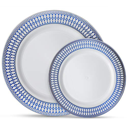 Laura Stein Designer Dinnerware Set of 64 Premium Plasic Wedding/Party Plates: White, Blue Rim, Silver Accents. Set Includes 32 10.75
