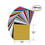 40 Pack 12 X 12 Premium Permanent Self Adhesive Vinyl Sheets-Assorted Colors (Glossy,Matt,Metallic and Brushed Metallic) for Cricut,Silhouette Cameo,Craft Cutters,Printers,Letters,Decals