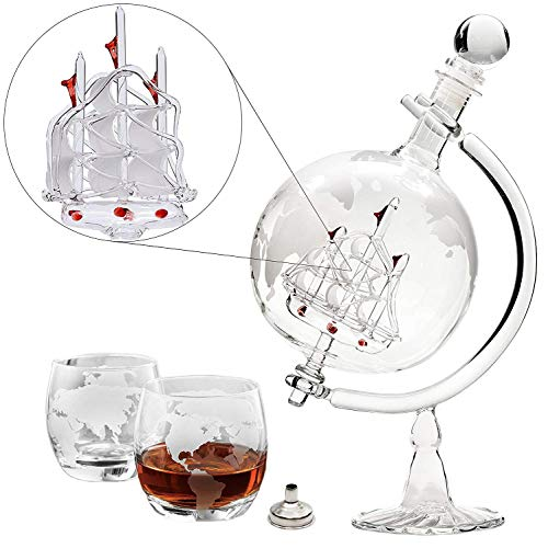 Large 35 Oz 'Ship' Handmade Whiskey Liquor Etched Globe Decanter Set with Glass Stand, 2 Globe Glasses and Bar Funnel