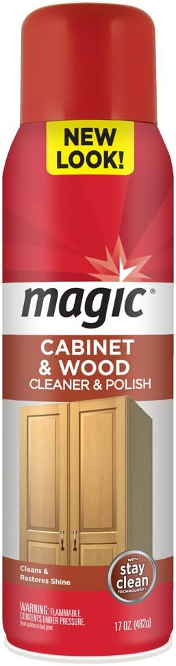 Magic Wood Deep Cleaner and Polish - 17 Ounce - Heavy Use Wood Furniture Cabinet Table Chair Natural Brazilian Carnauba Wax and Oil - Streak Free
