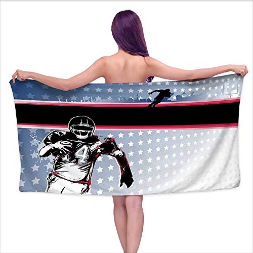 Andasrew Luxury Hotel & Spa Bath Towel Americana Decor,Baseball American Football Player Running in The Field with Stars Pattern,Multicolor,W31 xL63 for Kids
