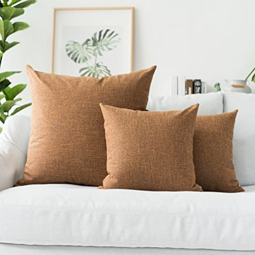 Kevin Textile Decor Burlap Natural Style Faux Linen Throw Pillow Cover Cushion Case for Floor with Invisible Hidden, 26-inches(Set of 2, Hazel Brown) ()
