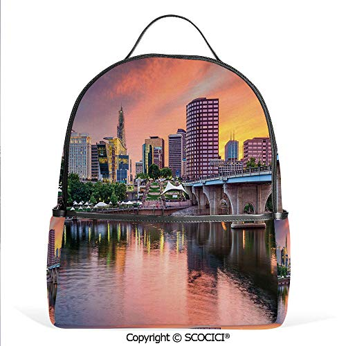 Lightweight Chic Bookbag Water Reflection in Evening Urban City Hartford Connecticut Tranquil Sunset Decorative,Multicolor,Satchel Travel Bag Daypack ()