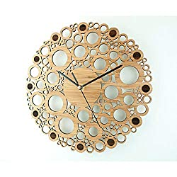 YJSMXYD Wall Clocks Creative Bamboo Simple Modern Design Natural Wooden Round Wall Art Home Decor Silent Can Well Decorate Home Office Coffee Bar Hotel Restaurant