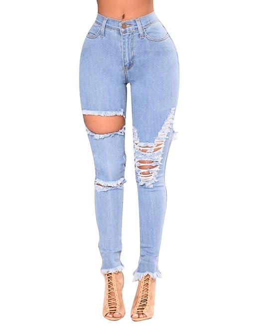 Elástico Skinny Jeans Denim Pantalones Rotos Vaqueros ...