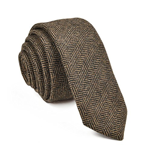 VOBOOM Mens Necktie Skinny Tie Tweed Pattern Woolen Neck Tie-many colors (06 Khaki)
