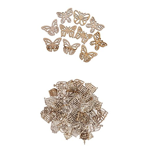 MagiDeal New Hot 60 Pieces Mixed MDF Wood birdcage &Butterfly Shape Cutout Wooden Scrapbooking Embellishment Art Craft Gift Tags Making Wedding Decoration ()