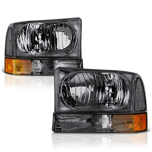 VIPMOTOZ Chrome Smoke Headlight & Turn Signal Corner Lamp Assembly Set For 1999-2004 Ford Superduty F-250 F-350 Pickup Truck & Excursion, Driver & Passenger Side