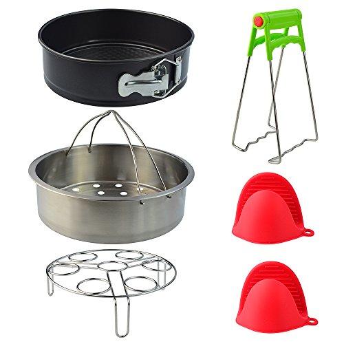 Yookat 5pcs Instant Pot Accessories Set Fits 5,6,8Qt Instant Pot Pressure Cooker with Steamer Basket, Egg Steamer Rack, 1Pair Silicone Cooking Pot Mitts, Non-stick Springform Pan, Bowl Plate Dish Clip