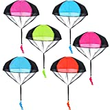 Blulu 6 Pieces Parachute Toys Tangle Free Throwing Hand Throw Soldiers Toss It Up and Watching Landing Outdoor Toys for Kids