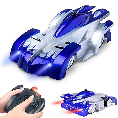 Flywind Gravity Defying Wall Climbing RC Toy for Kids Toys 6-10 Boys Birthday Gifts, Rechargeable 360 Rotating Durable Race Remote Control Car with LED Light, Car Toy for 5-6 Year Old Boy, Blue
