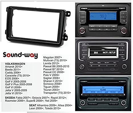 Sound-way Kit Montaje Autoradio, Marco 1 DIN Radio de Coche, Caja de Almacenamiento, Adaptador Antena, Cable Adaptador Conector ISO, Compatible con ...