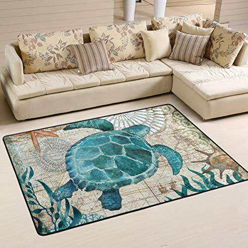 CENHOME Custom Area Rugs Sea Turtle Seaweed Starfish Blue Floor Mat Indoor/Outdoor Non Slip Rugs Home Large Entryway Carpet Doormat (Rug Starfish Blue)