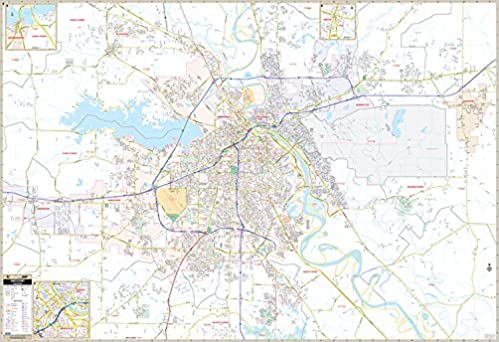 Amazoncom Shreveport Bossier City LA Wall Map 9780762589623