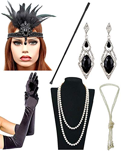 IETANG 1920s Accessories Themed Costume Mardi Gras Party Prop Additions to Flapper Dress (N) ()