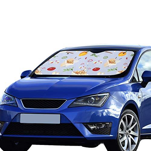 Car Sun Shade Cover Creative Fashion Cartoo Kitchen Wok Polyester&aluminized Film Cushion Shade Car Window Foldable Maximum Uv&Sun Protection Keep Your Vehicle Cool -