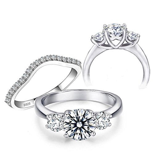 10 Hearts 10 Arrows 2 Carat 3 Stones Round Cut Simulated Diamond Ring Band Set Solid 925 Silver Platinum Plated D3RSET80