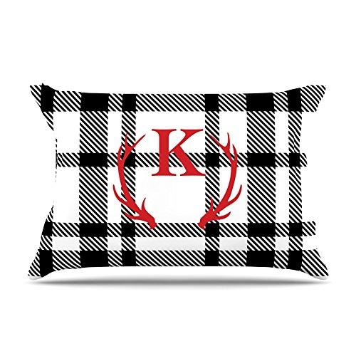 Kess InHouse Kess Original White Plaid Monogram Featherweight Sham 30 X 20
