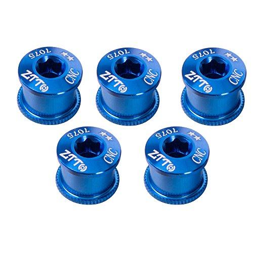 Ztto 5PCS 7075 Aluminum Alloy CNC Bicycle Chainring Screws Bolt Bolts Road MTB Bicycle Crankset Parts (Blue, 6.5mm)