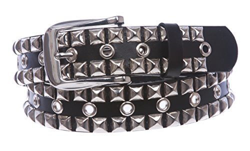 Snap On Two Row Punk Rock Silver Star Studs with Grommets Leather Belt Color: Black Size: M - 36