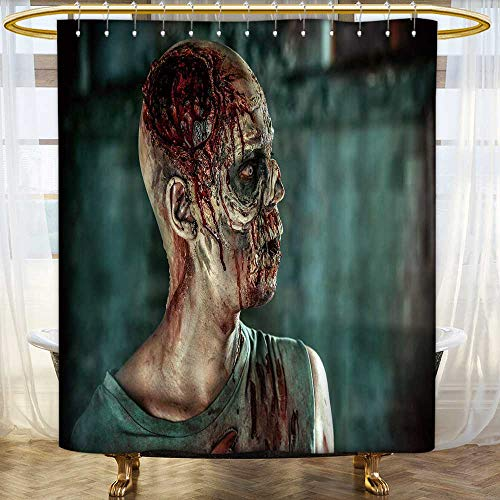 Shower Curtains with Shower Hooks Close up Portrait of a Horrible Scary Zombie Man Halloween Bathroom Accessories Size:W60 x L72 inch -