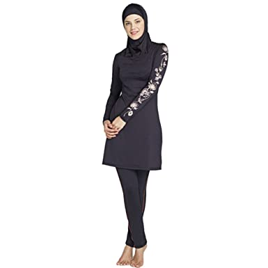 45606e7f1789b YONGSEN Plus Size Women Muslim Swimwear Flower Print Full Coverage Islam  Swimsuit Burkini at Amazon Women's Clothing store: