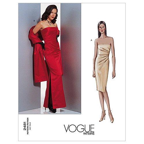 (Vogue Patterns V2481 Misses' Dress and Stole, Size 14-16-18)