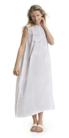 Victorian Classics Women s 100% Cotton Embroidered Roberta Sleeveless  Nightgown - White (Small da7842561