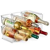 Juego de 6 soportes de almacenamiento para botellas y vinos, apilables, de plástico, organizador para despensa, cocina, refrigerador, almacenamiento ideal para vino, soda, pop y cerveza, transparente