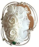 Lady Rose, Cameo Master Carved, Conch Shell Brooch, Pendant, Enhancer, Italian, Sterling Silver