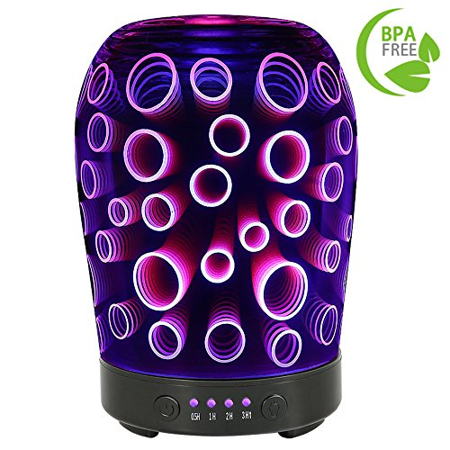 COOSA 100ml 3D Circle Pattern Essential Oil Diffuser, with 4 Time Setting and 7 Beautiful Color Changing LED Lights as a Cool Mist Humidifier for Home Office Bedroom Living Room(Multicolor)