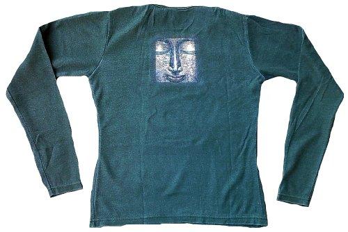 Ticila Damen Langarm T-Shirt Grün Stonewash GOLD BUDDHA Tempel Statue Religion Star Tattoo Paint Designer Vintage Design