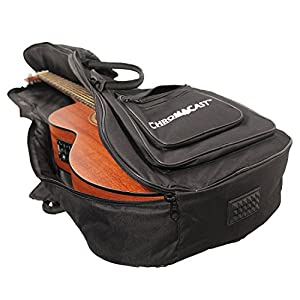 ChromaCast Acoustic Guitar 6-Pocket Padded Gig Bag with Guitar Strap and Pick Sampler