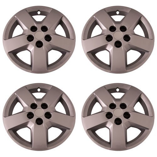 Set of 4 Silver 16 Inch Aftermarket Replacement Hubcaps with Bolt On Retention System - Part Number: IWC440/16S
