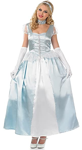 ladies adult princess cinderella fairy tale fairytale full length fancy dress princess party costume outfit