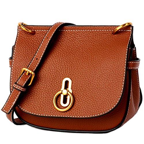 Fashion Retro Saddle Bag British Style Bag Wild Ladies' Shoulder Bags,Brown-(LxWxH):20x8x18cm by NUGJHJT