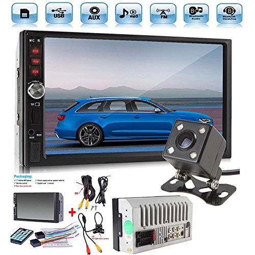 Car Rear View Camera + Cavogin 7″ inch Double Din Touchscreen In Dash Stereo Car Receiver Audio Video Player Bluetooth FM Radio Mp3 MP5/TF/USB/AUX + Remote Control