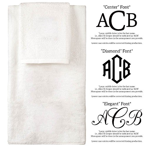 Personalized Monogrammed Decorative Bath Linens for Home, Office, and Gifts. Hotel Collection 100% USA Made 6-Piece Towel Set - White - 2 Bath, 2 Hand & 2 Wash Towels. Luxurious Boutique Towels. by 1888 Mills (Image #2)