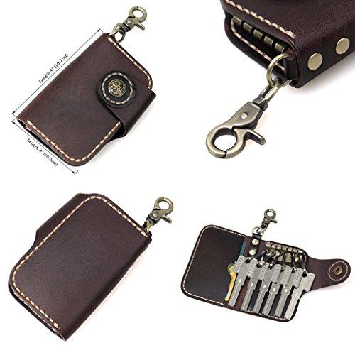 Clean Vintage Leather Keychain Key Holder Wallet- Brown Black Genuine Leather Car Key Case (Chocolate)
