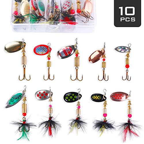 Akataka Fishing Lures Spinner Baits 10Pcs, Bass Trout Salmon Hard Metal Baits Fishing Lure Kit Set, Freshwater Saltwater Fishing Lures with Tackle Box (Style D) ()