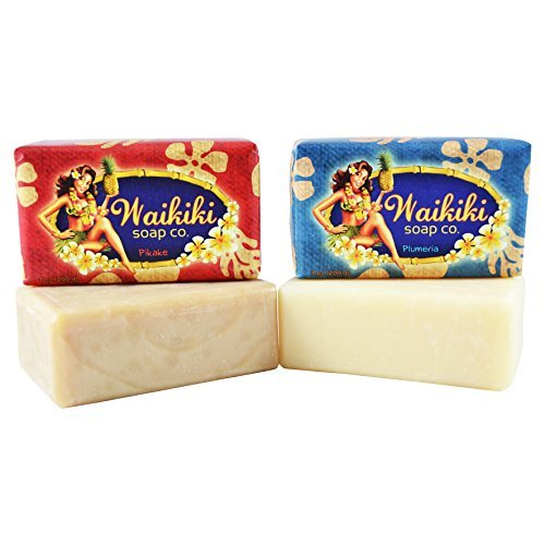 Waikiki - Natural Bar Soap, 2 pc Set, 7 Oz each (Pikake/Jasmine & - Hawaiian Bar Soap
