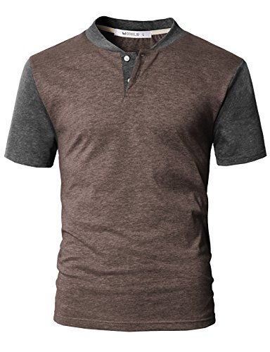 (IDARBI Men's Casual Slim Fit Raglan Baseball Short Sleeve Henley T-Shirt BROWNCHARCOAL M)