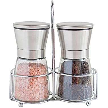 Salt and Pepper Grinder Set with Matching Stand - Stainless Steel Salt and Pepper Shakers with Glass Body and Adjustable Ceramic Mill - Set of 2 … (Short)