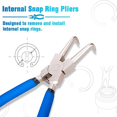 SPEEDWOX 7'' Internal Snap Ring Pliers 90 Degree Bent Jaw Retainer Ring Pliers Retaining Ring Pliers C Clip Pliers Precision Circlip Pliers Retaining Clip Pliers Maintain Solid Eclip Tools by SPEEDWOX (Image #1)
