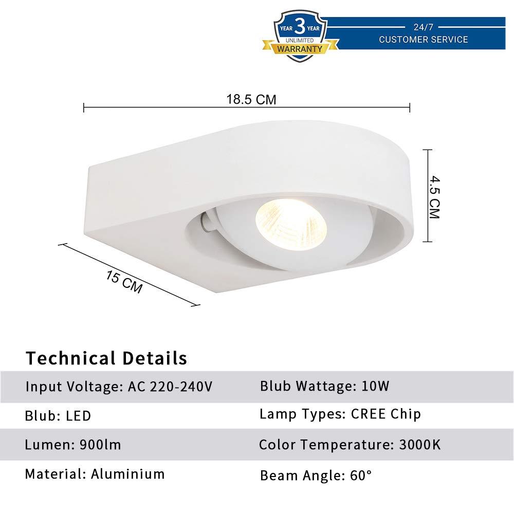 10w Wandlampe LED Badlampe Flurlampe Spot Deckenleuchte Innenleuchte Warmweiß